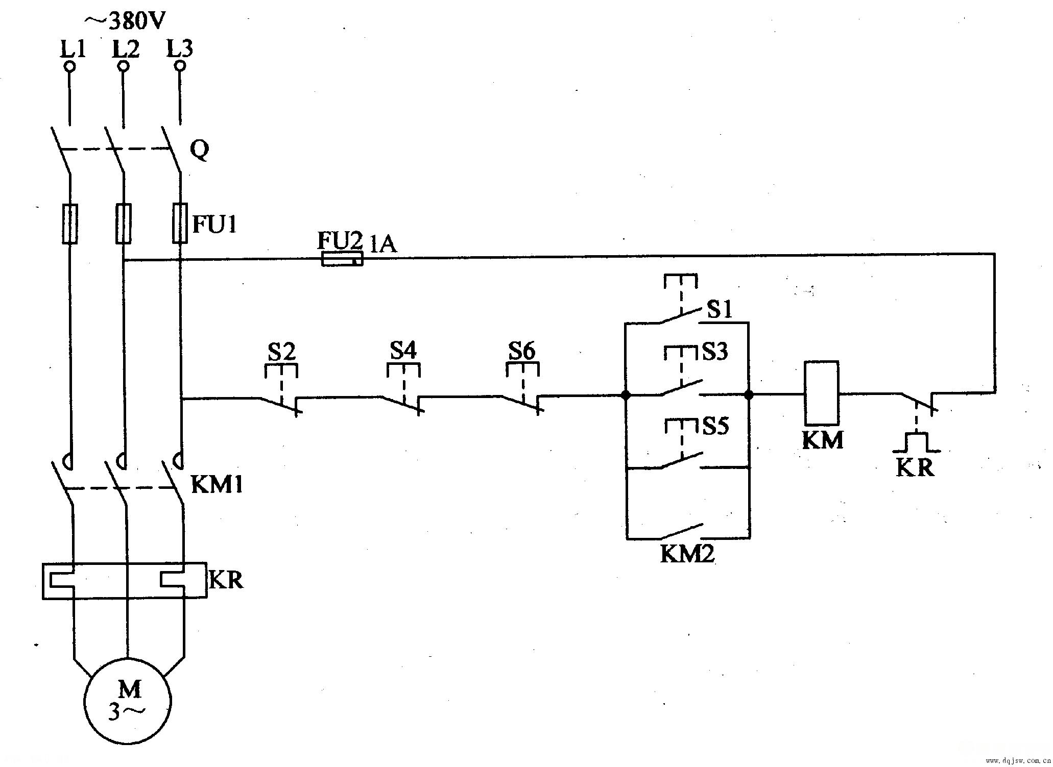 多点异地电动机控制电路图片