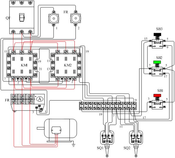 电动机自动往返控制接线示意图