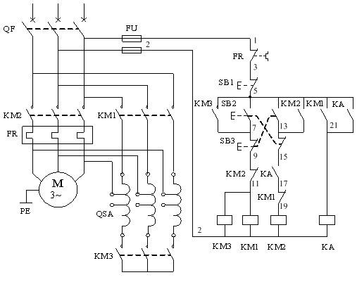 鼠笼式电动机自耦降压启动手动控制电路知识